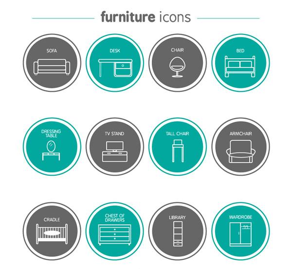 矢量各式图标所需点数: 0 点 关键词: 12款圆形家具图标矢量素材