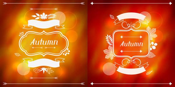 点 关键词: 精美秋季广告海报元素素材,梦幻背景,树叶,丝带,花纹,秋天