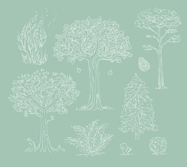 0 点 关键词: 白色手绘树木设计矢量素材,树木,植物,树,松树,手绘