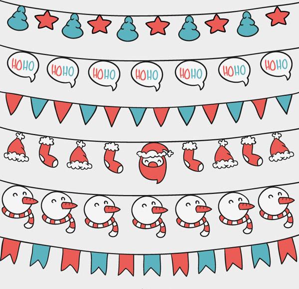 素材分类: 矢量圣诞节所需点数: 0 点 关键词: 卡通圣诞装饰吊旗设计