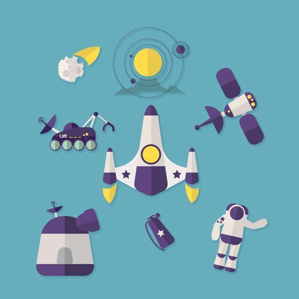 卡通角色所需点数: 0 点 关键词: 空间探索图标设计矢量素材,人造卫星图片