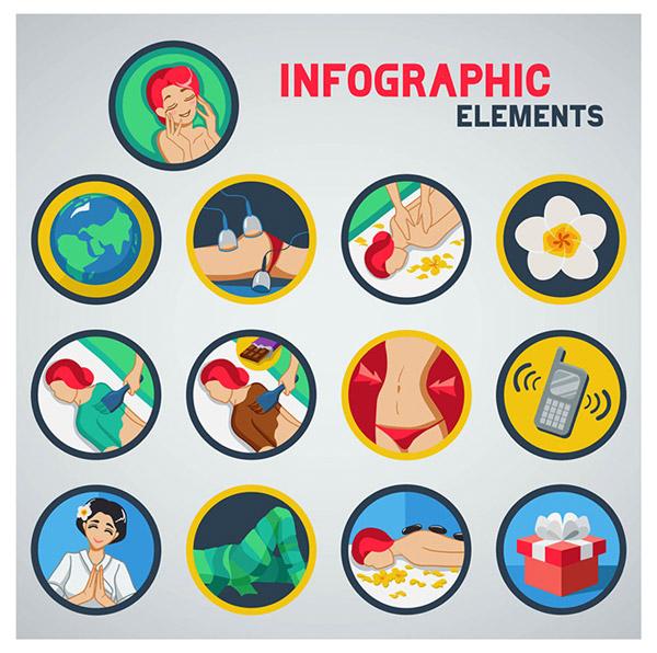可爱的卡通圆形spa图标设计素材