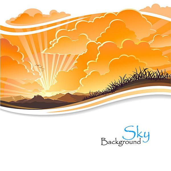 素材分类: 矢量自然风景所需点数: 0 点 关键词: 夕阳晚霞背景矢量