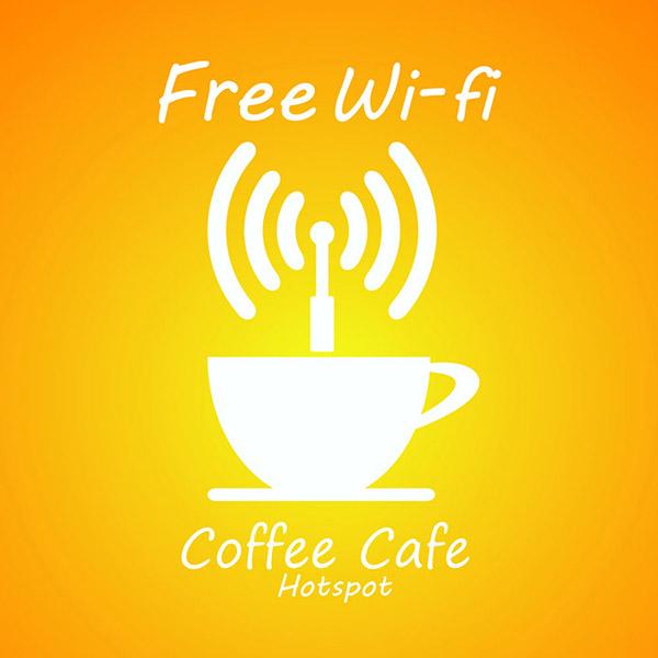 咖啡厅wifi,咖啡杯子,网络信号图标