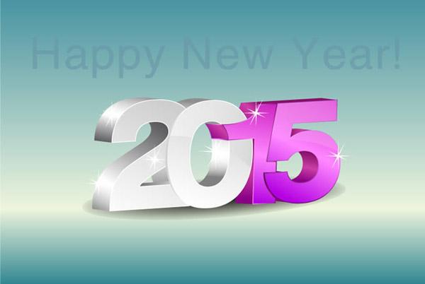2015新年3d艺术字矢量素材