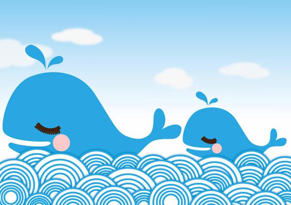 可爱卡通小鲸鱼,大海,海豚,海洋,鲸鱼,卡通,可爱,可爱卡通,蓝色,蓝天