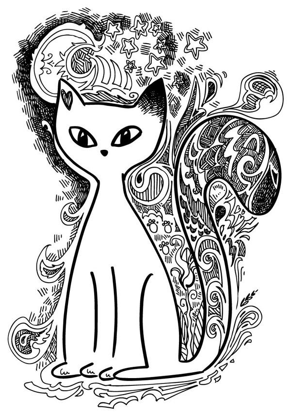 手绘白色猫咪_素材中国sccnn.com