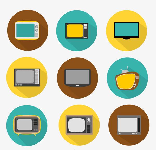 图标 电视机/圆形电视机图标...
