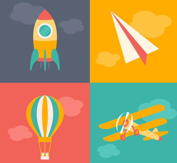 0 点 关键词: 卡通飞行工具设计矢量素材,火箭,纸飞机,热气球,飞机