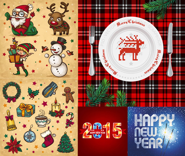 圣诞节与新年主题创意矢量素材,矢量素材,矢量图,圣诞节,节日素材,圣诞老人,麋鹿,人物,礼盒,雪人,小鸟,姜饼人,手套,花环,蜡烛,咖啡,袜子,铃铛,吊球,挂球,花朵,圣诞树,桌布,刀叉,西餐,盘子,松树枝,松枝,烟花,2015,HappyNewYear,EPS