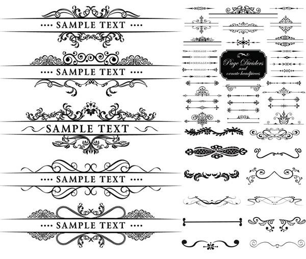黑白花纹边框装饰线条元素矢量素材