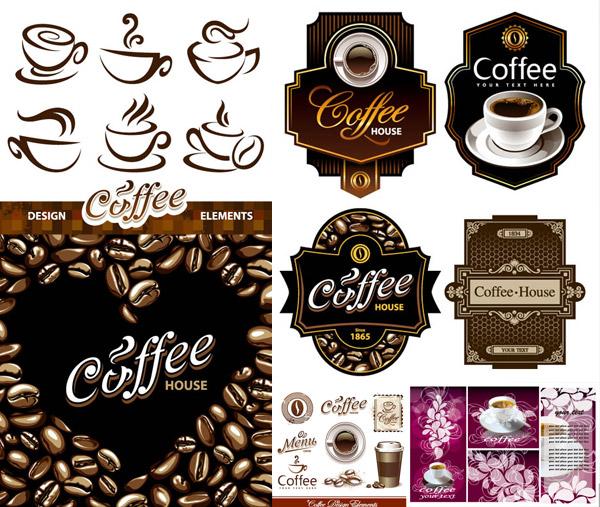 贴标签与咖啡杯创意设计矢量素材免费下载,矢量素材,矢量图,咖啡杯子