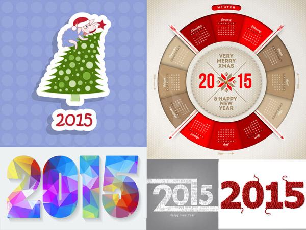 2015数字与圣诞节等创意矢量素材免费