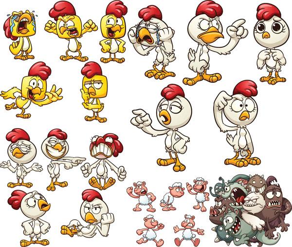 矢量素材,矢量图,卡通,动漫,公鸡,鸡仔,表情,可爱,萌物,怪物,eps 下载