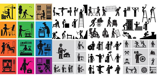 装修施工与伐木工人等人形矢量素材免费下载,矢量素材,矢量图,人物,人形,小人,装修,维修,瓦工,房门,泥瓦工,水电工,人字梯,小推车,刷漆,木工,小工,焊工,工人,伐木工,斧头,链锯,电锯,树木,年轮,护士,理发师,画画,写生,书房,环卫,音乐,电视,音箱,EPS