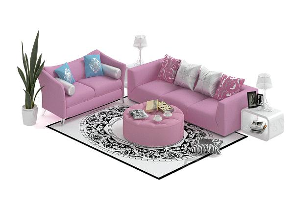 沙发茶几组合模型_素材中国sccnn.com