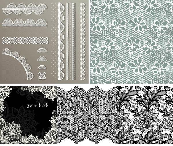 黑白色彩蕾丝底纹背景图案矢量素材免