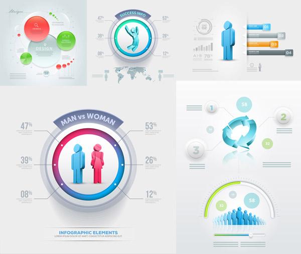 信息图表,流程图,潮流,时尚,立体,质感,创意设计,缤纷,多彩,圆形,环形