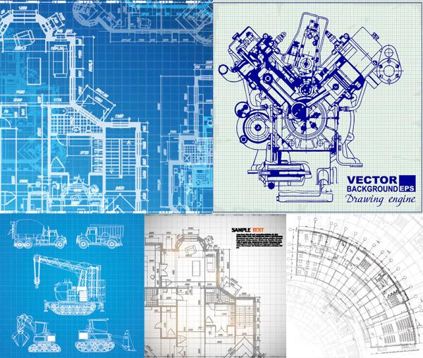 手绘发动机与户型图纸主题矢量素材免费下载,矢量素材,矢量图,蓝图