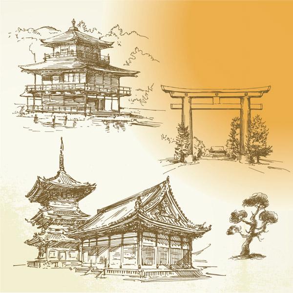 手绘古代建筑_素材中国sccnn.com