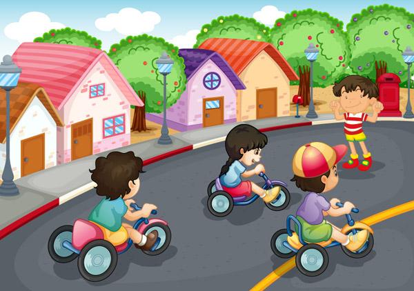 卡通儿童单车比赛矢量素材,街道,房屋,卡通,插画,孩子,单车,树木