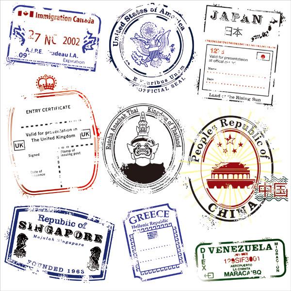 不同国家的邮戳
