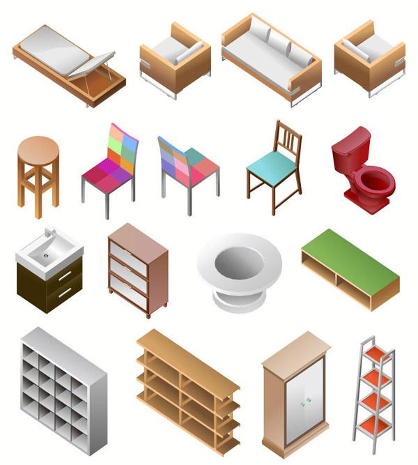 矢量家俱所需点数: 0 点 关键词: 立体创意家居设计矢量素材,单人床