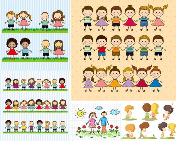 手绘卡通可爱小朋友等人物矢量素材,矢量素材,矢量图,设计素材,卡通,人物,小孩,儿童,小朋友,小男孩,小女孩,可爱,手牵手,手拉手,草地,竖纹,条纹,辫子,太阳,云朵,小花,花朵,鲜花,手绘,素描,网格,浇水,荡秋千,EPS