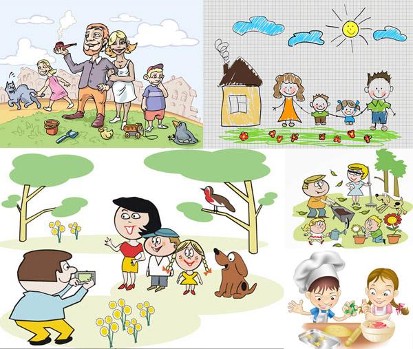 手拉手玩耍的可爱小朋友等矢量素材,矢量素材,矢量图,设计素材,卡通,人物,男人,女人,老人,老年人,云朵,白云,手绘,太阳,小孩,小朋友,儿童,小男孩,小女孩,房子,房屋,网格,大树,树木,拍照,小鸟,小厨师,小狗,狗狗,花盆,向日葵,浇水,EPS