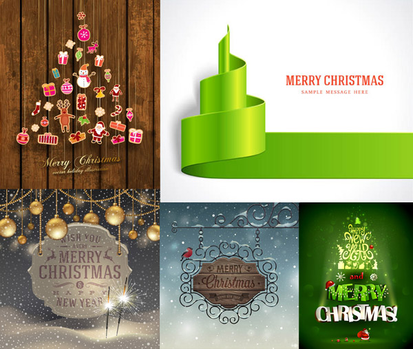 圣诞节挂饰与木板立体字等矢量素材免