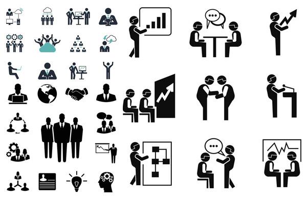 黑白简约风格商务人物图标矢量素材免费下载,矢量素材,矢量图,设计素材,图标,人形,人物,黑白,商务,网络,IT,云计算,电脑,计算机,合作,团队,握手,箭头,谈话,聊天,折线,演讲,讲台,创意设计,EPS