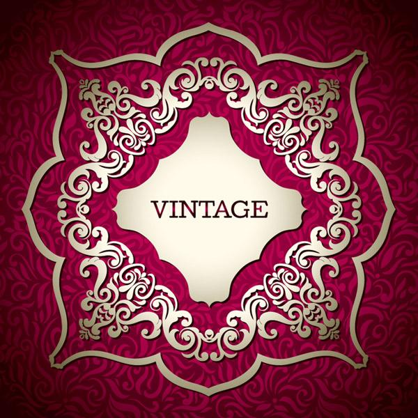 关键词: 复古精美花纹背景矢量素材,花纹,装饰,玫红,背景,标签,复古