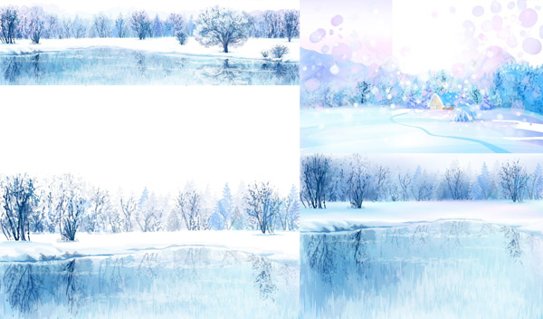 动漫手绘冬季美景矢量素材