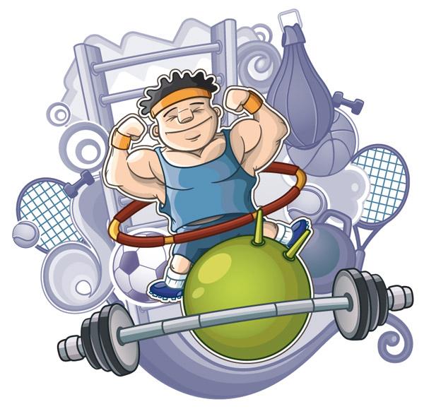 卡通健身人物插画图片