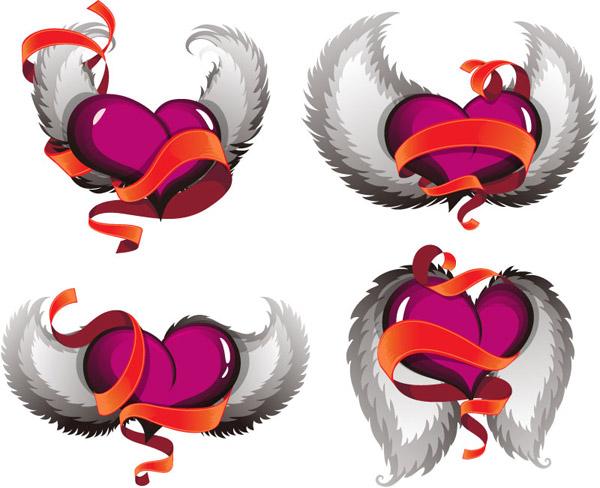 立体翅膀爱心矢量素材,丝带,翅膀,爱心,3d,矢量图,eps格式 下载文件图片