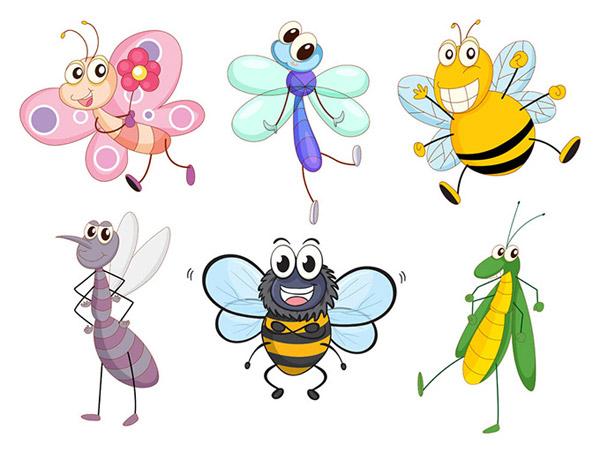 动漫,卡通,可爱的昆虫,生物世界,微笑,蜜蜂,蚊子,蜻蜓,蝴蝶,ai 下载