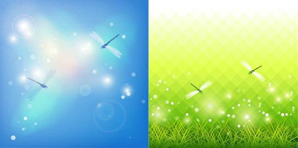 草地蜻蜓梦幻背景设计矢量素材