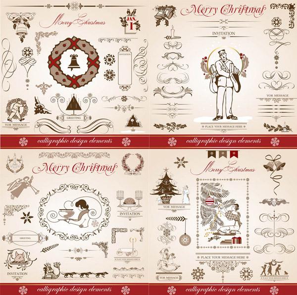欧式圣诞节装饰元素,矢量素材,矢量图,设计素材,创意设计,节日素材,圣诞节,花纹,花边,分割线,分隔线,边框,人物,铃铛,欧式,复古,怀旧,EPS