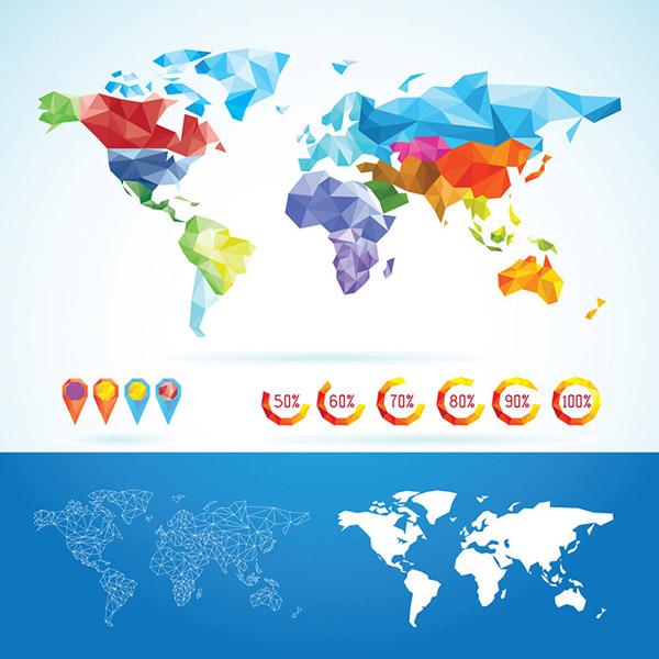 炫彩几何拼接世界地图矢量素材