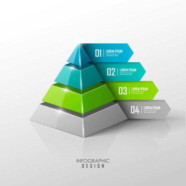 彩色折纸三角体信息图矢量素材
