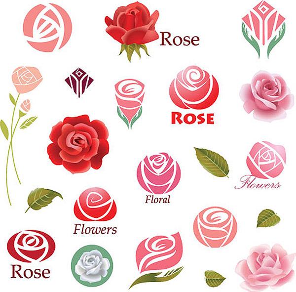 矢量logo图形所需点数: 0 点 关键词: 精美花朵商标设计素材,玫瑰花