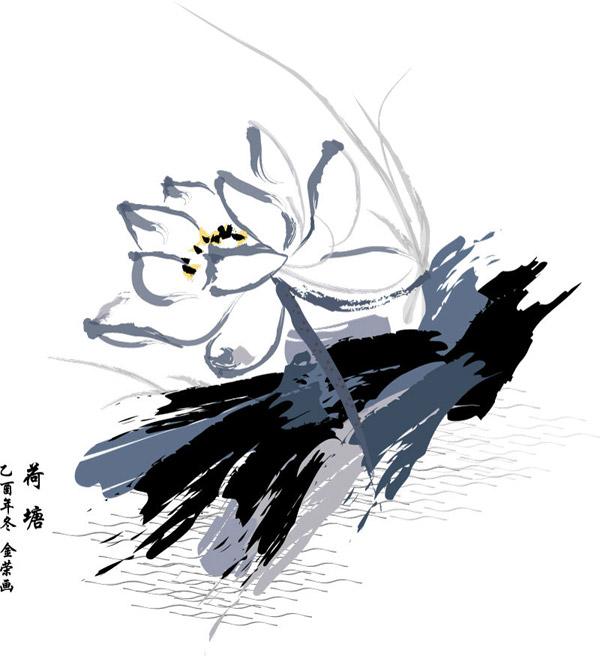 水墨仙鹤荷花绘画作品图片大全