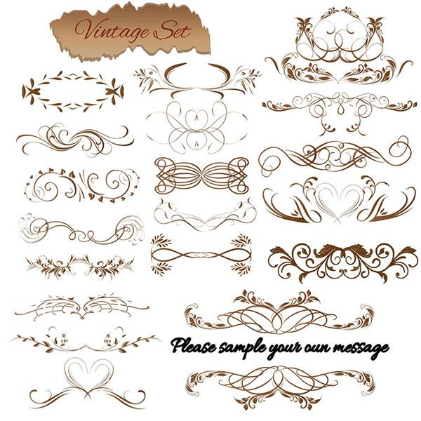 欧式花纹设计矢量素材