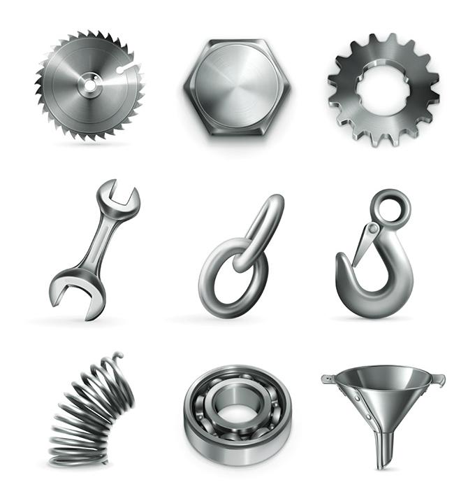 设计矢量素材,锯齿轮,扳手,钩子,弹簧,漏斗,拉环,标志图标,图形标识