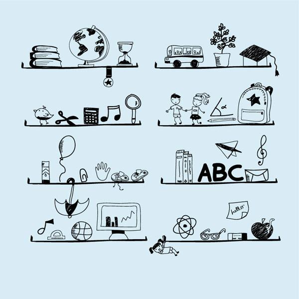 矢量插畫所需點數: 0 點 關鍵詞: 手繪校園元素書架背景矢量素材,手繪