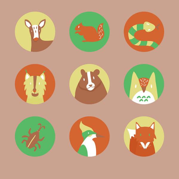 9个圆形卡通森林动物头像矢量素材,梅花鹿,棕熊,猫头鹰,松鼠,蛇,啄木鸟,狐狸,豹子,头像,矢量图,AI格式