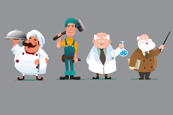 0 点 关键词: 4款卡通职业人物矢量素材,工人,厨师,职业,医师,博士