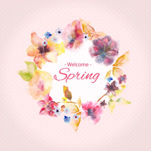 春季水彩手绘花边