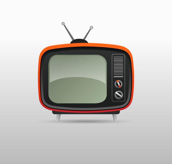 卡通红色老式电视机矢量素材