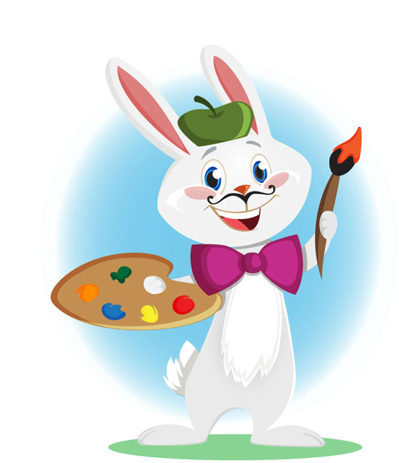 绘画的卡通兔子